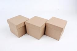 """Брикет коробок из 3 шт - """"Кубик КРАФТ""""    Пин24-К"""