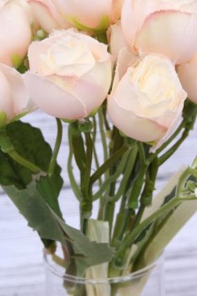 Букетик кустовых роз персиковый. 27 см.