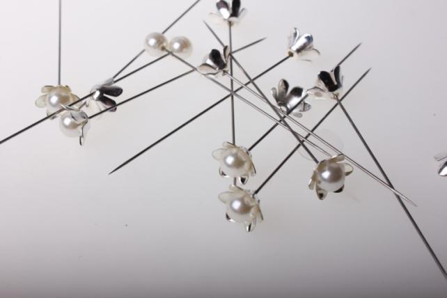 декоративные булавки булавка декоративная цветочек с бусинкой флористическая (12шт) 863