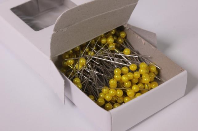 булавка с бусинкой 4мм*40мм желтые (144шт) 6848
