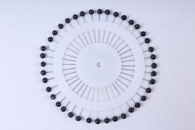булавка с бусинкой  4мм в круге (40шт) черная