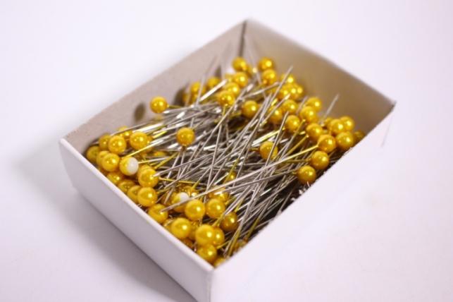 булавка с бусинкой  5,5мм*55мм желтые (144шт)