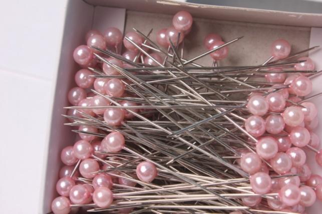 булавка с бусинкой розовая 5,5мм х 55мм (44шт) 8160
