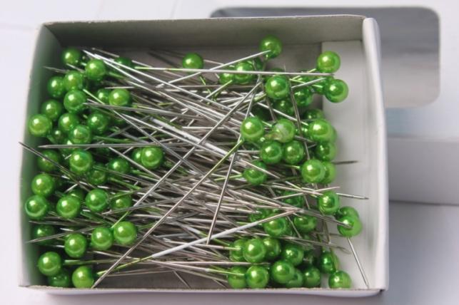 булавка с бусинкой зеленая  5,5мм х 55мм (44шт) 8160