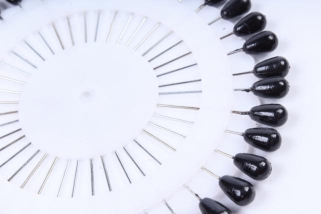 Булавка с бусиной капля в КРУГЕ (40шт) Черная