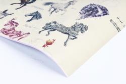 """Бумага 1*70 Дизайнерская бумага """"Лошадки"""" 78г/м2  10шт/уп  (М)  PinL"""