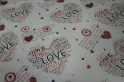 бумага  белый крафт сердца романтика  0,7*1м в лист. (10 лист.)  78г/м2  м