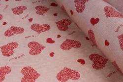 """бумага  дизайнерский крафт """"сердца love is"""" красный 40г/м2 (70см*10м) м  р798"""