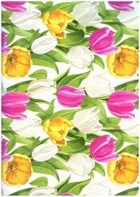 Бумага ГЛЯНЕЦ 100/091 Просто тюльпаны 0,7х1м в листе 31302 ( 10 листов в рулоне)