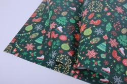 бумага  глянец 100/223 нов. год новогодние детали   0,7*1м в лист. (10 лист.)