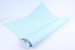 Бумага ГЛЯНЕЦ  01/012 Белый горошек на голубом  68*98см (10 листов)