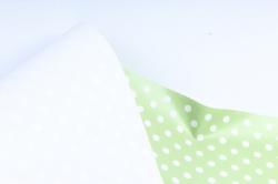 Бумага ГЛЯНЕЦ  01/014 Белый горошек на салатовом  68*98см (10 листов)
