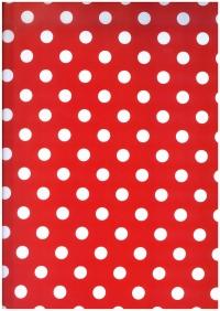 Бумага  ГЛЯНЕЦ - Горох на красном 0,7*1м (10 лист.) - Код 100/01-20