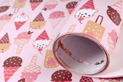 Бумага Глянец (И) Мороженое на розовом 70*100см 78г/м2 (10шт в уп) В122