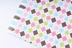 Бумага Глянец (И) Ромбики цветные 70*100см 78г/м2 (10шт в уп) В124
