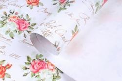Бумага Глянец (И) Розы на белом 70*100см 78г/м2 (10шт в уп) В123