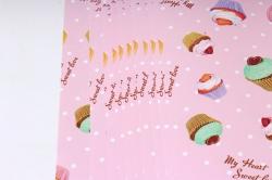 Бумага Глянец (И) Сладости на розовом 70*100см 78г/м2 (10шт в уп) В122