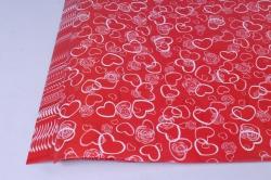 бумага  глянец сердечки на красном  0,7*1м в лист. (10 лист.)  78г/м2  м