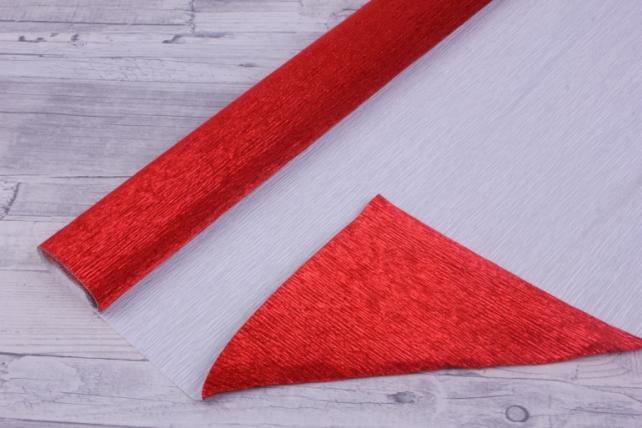бумага гофрированная металлизированная 803 - красная