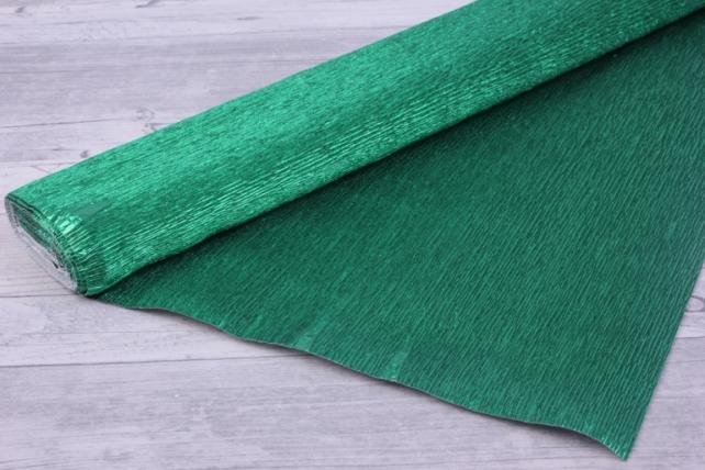 Бумага гофрированная металлизированная 804 - Зеленая