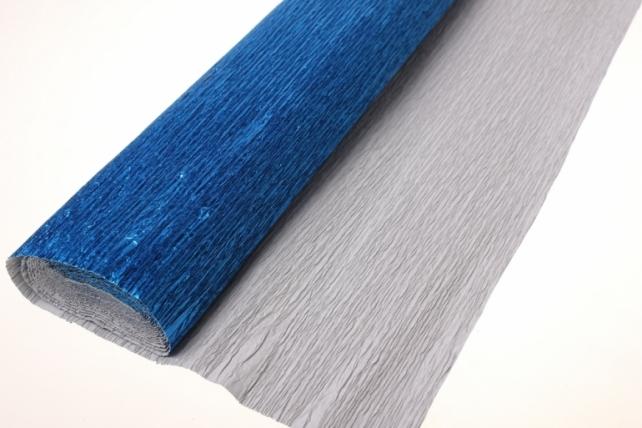 бумага гофрированная металлизированная 805 - синяя