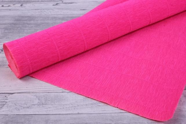 Бумага гофрированная простая - ярко-розовый 551