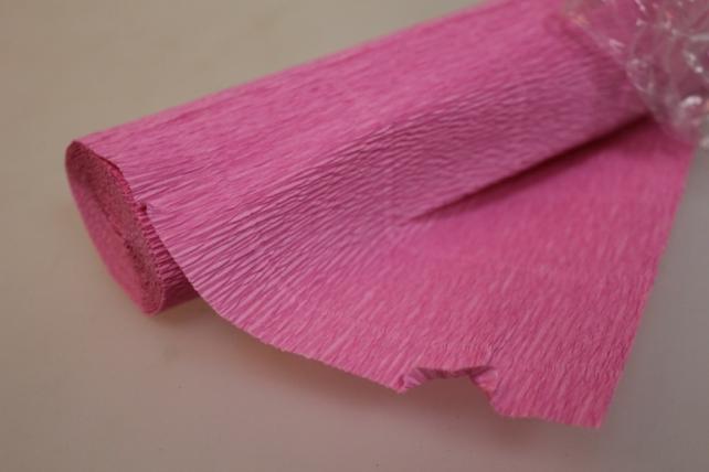 бумага гофрированная простая - розовый 554
