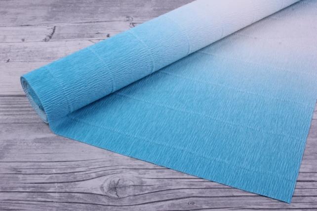 Бумага гофрированная простая с переход b600/2 бело-голубая