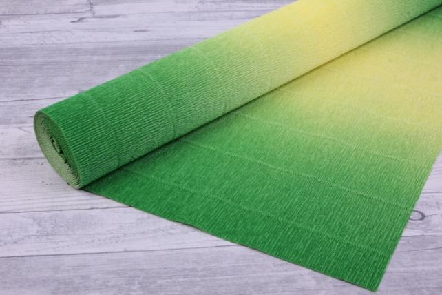 Бумага гофрированная простая с переходом 600/5 желто-зеленая