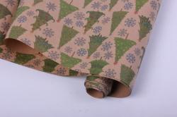 бумага  крафт 203/121 новый год нарядные ёлочки  0,7*1м в лист. (10 лист.)