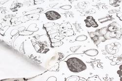 """Бумага крафт беленый """"Белые Мишки"""" 72см*10м. 50 г/м2 44747ПУ"""
