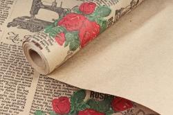 Бумага крафт Белый цветочн Кутюрье черн/красн/зел  70см*10м. 60 г/м2   10шт/уп М К711