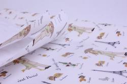 бумага  крафт белый париж ретро  0,7*1м в лист. (10 лист.)  м