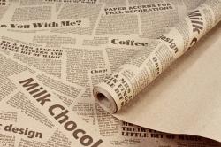 Бумага крафт цветочная газета Milk Chokolate коричневый 70см*10м. 60 г/м2  М К712/3