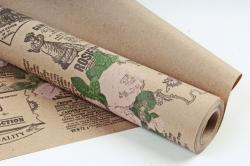 Бумага крафт цветочная Кутюрье  чёрн/малин/зел 70см*10м. 60 г/м2  М К707