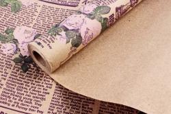 Бумага крафт цветочная Кутюрье  фиолет/сирень/зел 70см*10м. 60 г/м2  М К709