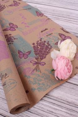 Бумага крафт цветочная Lavander сирен/бирюз/фист 70см*10м. 60 г/м2   К740/3 М