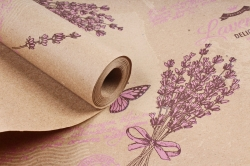 Бумага крафт цветочная Lavander сирен/крем/коричн 70см*10м. 60 г/м2   К740/4 М