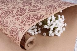 """Бумага крафт цветочная """"Огуречный узор коричневый"""" 70см*10м. 70 г/м2  М 42587ПУ"""
