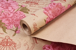 Бумага крафт цветочная Peones красн/сал/фист 70см*10м. 60 г/м2   К760/3   М