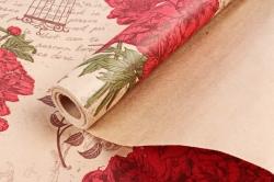 Бумага крафт цветочная Peones красн/зел/коричн 70см*10м. 60 г/м2   К760/4   М