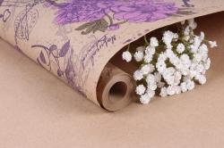 Бумага крафт цветочная Peones сир/фист/фиол 70см*10м. 60 г/м2   К760/6  М