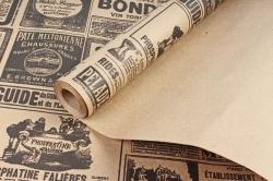 Бумага крафт цветочная Винтажная газета черный 70см*10м. 60 г/м2   М К713