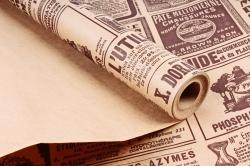 Бумага крафт цветочная Винтажная газета коричн 70см*10м. 60 г/м2   М К713/3