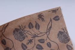 бумага  крафт цветочная вьющиеся розы серые 72см*10м  40г/м2   33783пу  м