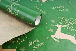 Бумага крафт 40гр/м2, 70см x 10м, Олени зелёный00077067