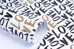 """Бумага 1м*70см Дизайнерская бумага """"Черно-Золотая Любовь""""  78г/м2  10шт/уп  (М)  UNCHZL"""