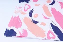 "Бумага 1м*70см Дизайнерская бумага ""Мазки Сердца""  78г/м2  10шт/уп  (М)  UNMN"