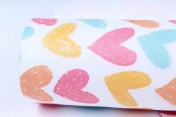 """Бумага 1м*70см Дизайнерская бумага """"Меловые Сердца""""  78г/м2  10шт/уп  (М)  UNMLH"""