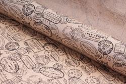"Бумага 1м*70см Дизайнерская бумага ""Почтовые штампы""  78г/м2  10шт/уп  (М)  UNPST"